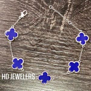 Jewelry - 5 Blue Lapis Lazuli S 925 Silver Clover  Bracelet
